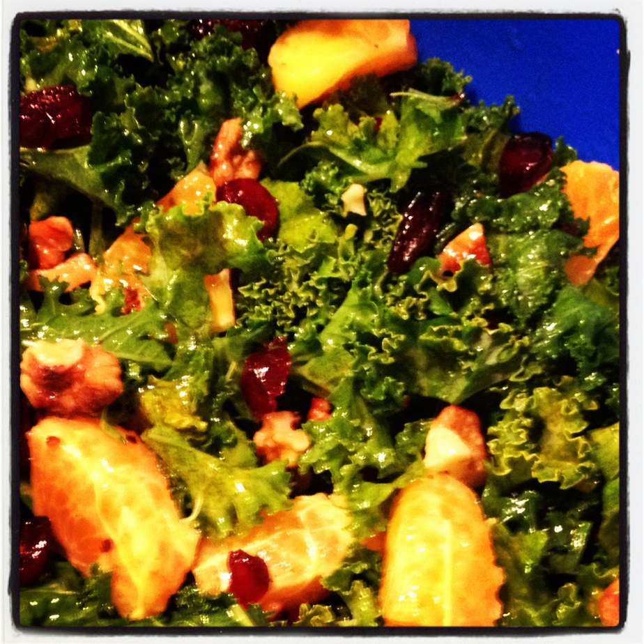 Kale Citrus Salad with Cranberries & Toasted Walnuts